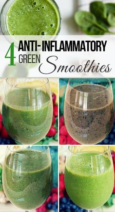 Wondering how to make an anti-inflammatory green smoothie for breakfast? Here are four easy and nutritious anti-inflammatory green smoothie recipes – all dairy free, vegan and low sugar. They have simple and healthy ingredients like fruits, green veggies, Breakfast Smoothies, Fruit Smoothies, Healthy Smoothies, Healthy Drinks, Diet Drinks, Simple Green Smoothies, Low Sugar Smoothies, Healthy Juices, Veggie Smoothie Recipes