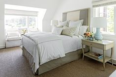 Mature Guest Bedroom - Gracious Guest Bedrooms - Southernliving. Relying on a mature, gender-neutral palette of deep taupes, soft grays, and crisp whites, Interior DesignerSuzanne Kasler grounded the space with Hickory Chair's Candler Bed and shapely West Paces Side Tables in matching birch finishes. The wooden frame around the striped greige-and-white headboard dresses it up for special visitors. A bed skirt in the same fabric as the headboard and timeless white bedding ensure that this…