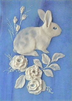 Cameo Bunny on Stained Glass ACEO by Paulie Rollins - really pretty. I'm thinking of felt or sugar paste...