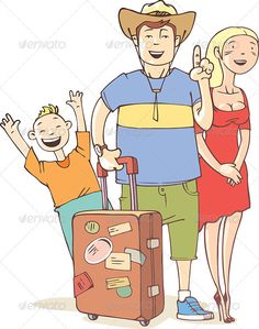 The happy tourist's family - father, mother and their little son are ready to vacation. The archive includes: - editable vector EPS - HI-res JPG image. Just In Case, Sons, Father, Family Guy, Female, Children, Vectors, Illustrations, Creative