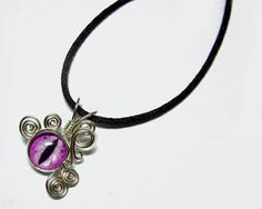 Glass Eye Pendant - Wire Wrap Pink Dragon Taxidermy Eye Pendant with Necklace by Nixcreations, $25.00