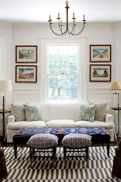 Home Design Ideas - Zillow I like the simple thing. Idk if it'll work with the dark wood furniture I have though. Ottoman In Living Room, My Living Room, Home And Living, Living Room Decor, Living Spaces, Small Living, Living Room Inspiration, Interior Inspiration, Hamptons House