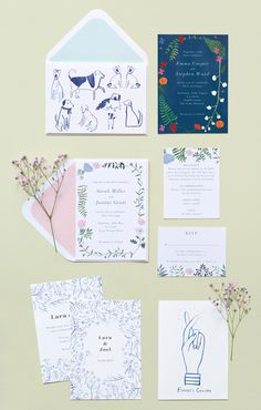 Pen & ink drawings and painterly floral illustrations - we love Peggy & Kate's cards & invitations