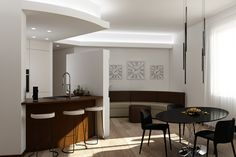 Apartment renovation - Round kitchen and Living area render Round Kitchen, Apartment Renovation, Living Area, House Design, Table, Furniture, Home Decor, Decoration Home, Room Decor