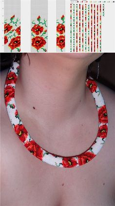 funky pop art looking roses bead crochet rope i like the colors in the picture below the pattern change all colors around for different funky looks - PIPicStats Bead Crochet Patterns, Bead Crochet Rope, Beading Patterns, Beaded Crochet, Seed Bead Jewelry, Bead Jewellery, Bracelet Crochet, Beaded Crafts, Bijoux Diy