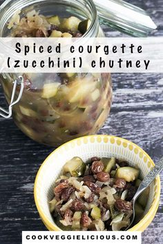 Perfect for making a dent in a glut of courgettes (zucchini) this spiced courgette chutney is deliciously simple to make. It's as easy as popping all the ingredients in a pan, simmering them together, cooling and storing the lot in a jar. Delicious. Vegetarian, vegan and gluten free. #chutney #courgettechutney #zucchini #courgette #zucchinichutney #vegan Vegan Indian Recipes, Vegan Recipes Easy, Vegetarian Dinners, Vegetarian Recipes, Vegan Lunches, Vegan Meals, Farmers Market Recipes, Healty Dinner, Chutney Recipes