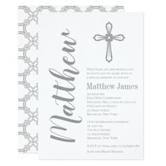 Modern Cross First Holy Communion Invitation - boy gifts gift ideas diy unique