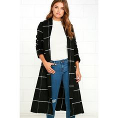BB Dakota Braylee Black Plaid Coat ($127) ❤ liked on Polyvore featuring outerwear, coats, black, calf length coat, bb dakota coat, bb dakota, evening coat and wool blend coat