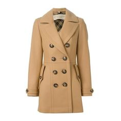 BURBERRY 'Dillsmead' Double Breasted Coat ($1,080) ❤ liked on Polyvore featuring outerwear, coats, jackets, beige, casacos, burberry coat, beige coat, double-breasted coat and burberry