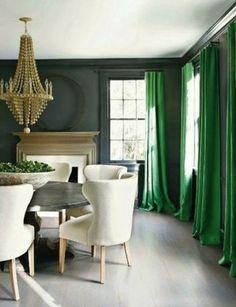 Modern house design Home Interior Design Ideas Wallpaper Green curtains Green Curtains, Green Dining Room, Interior, Emerald Green Curtains, Feng Shui Colours, Home Decor, House Interior, Green Drapes, Interior Design