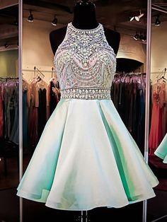 unique prom dresses,A-line Scoop Short Mini Satin Homecoming Dress Short Prom Dresses SP8142