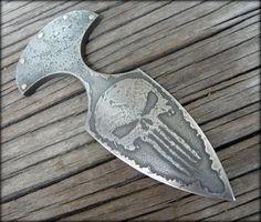 Punisher skull push dagger acid etched d2 tool steel