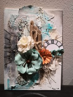 Inspired by #maremismallart and her tutorials on YouTube. #mixedmedia flat #canvas A5-size