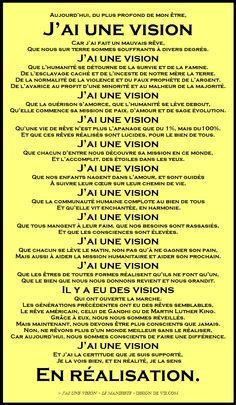"""J'ai une vision - Le manifeste. Pour une planète où il fait bon vivre. Cliquez """"J'aime"""" si vous aimez, et partagez! Le manifeste:  J'ai une vision est aussi à http://designdevie.com/jai-une-vision-le-manifeste/"""