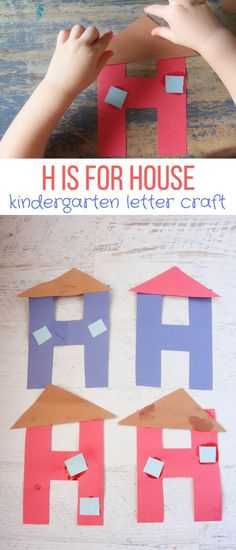 H is for House – Letter H Craft for Preschool and Kindergarten Here is our letter H craft, H is for House! This is a great letter to complement a building unit, a discussion on families, or simply an exploration of the letter H! H Preschool Crafts, Abc Crafts, Preschool Letters, Daycare Crafts, Toddler Crafts, Preschool Activities, Crafts For Kids, Preschool Boards, Weather Activities