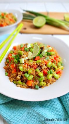 """Healthy Cauliflower """"Fried"""" Rice Bowl - vegan + gf - quick, nourishing, delicious and a definite crowd-pleaser! This nutritious vegetable bowl has high-quality plant protein from the edamame and can easily replace your favorite """"fried"""" rice take-out. From The Glowing Fridge."""
