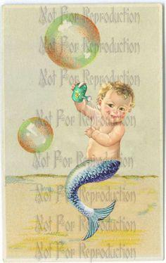 FABRIC BLOCK  s78 Merbaby Merboy Mermaid Fabric Block by wwwvintagemermaidcom, $7.00