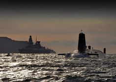 Nuclear Submarine HMS Vanguard Passes HMS Dragon as She Returns to HMNB Clyde, Scotland | by Defence Images