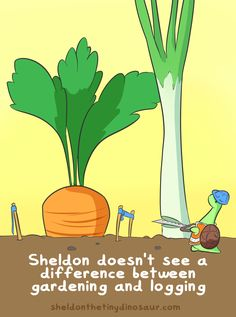 Sheldon the Tiny Dinosaur who Thinks he& a Turtle, , Fortunately leaves fall very softly on his head. Cute Comics, Funny Comics, Kawaii Drawings, Cute Drawings, Turtle Dinosaur, Sheldon The Tiny Dinosaur, Dinosaur Pictures, Online Comics, Book Art