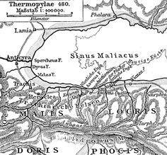 El desfiladero de las Termópilas, pequeño paso que limitaba en un extremo con el Golfo Maliaco y en otro con los montes Eta y Calidromo. Comunicaba Lócrida con Tesalia.