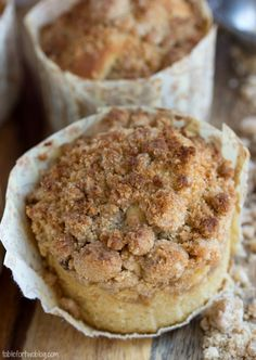 New York-Style Coffee Cake Crumb Muffins from www.tablefortwoblog.com. Baked this morning and Yum!