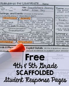 FREE 4th and 5th Grade Scaffolded Student Response Pages for Common Core.  I love using these for homework and no-prep sub plans.
