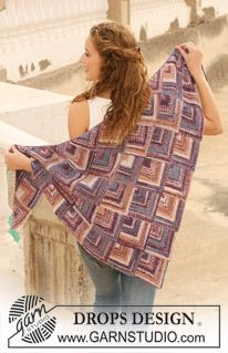 """Cascading Squares - Knitted DROPS shawl in domino squares in """"Fabel"""". - Free pattern by DROPS Design Poncho Crochet, Poncho Shawl, Knitted Shawls, Crochet Scarves, Crochet Clothes, Lace Shawls, Knit Cowl, Crochet Granny, Hand Crochet"""
