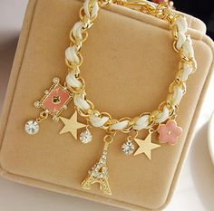 Gold Chain Leather Rope Crystal Handmade Eiffel Tower Bracelet