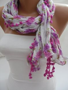 Pink Floral Pompom Shawl/ Scarf  Headband Necklace Cowl by DIDUCI, $13.50