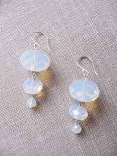 Swarovski crystal white opal 3 drop earring by trinkjewelry