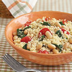 Veggie Couscous with White Beans-A very light meal packed with protein. This is also a super lunch for work that won't leave you feeling sluggish.