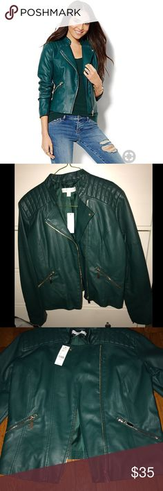 Green Faux Leather Jacket Brand new faux leather jacket with silver zippers and quilted shoulders. Goes great with jeans, pencil skirts, and A-line skirts. New York & Company Jackets & Coats