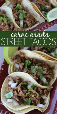 Try Carne Asada Street Tacos for a quick and tasty meal idea. Carne asada tacos … Try Carne Asada Street Tacos for a quick and tasty meal idea. Carne asada tacos are packed with flavor. Everyone will love this easy carne asada recipe. Healthy Recipes, Healthy Cooking, Gourmet Recipes, Fast Recipes, Healthy Food, Easy Tasty Meals, Latin Food Recipes, Easy Mexican Food Recipes, Tasty Dinner Recipes