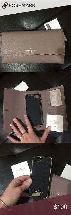 Kate spade ♠️ wallet + phone case Leather iPhone 6 Wallet Foldover with snap closure. Back exterior features one zipper pocket. Interior features 6 credit card slots, 1 ID window and phone holder. kate spade Bags Wallets