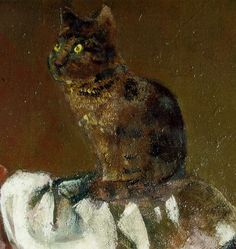 Balthus ~ Le Chat au miroir III (Cat with Mirror III) - Detail of cat - Oil on canvas