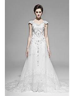 A-line/Princess Straps Floor-length Wedding Dress