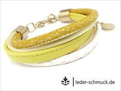 Lederarmbänder - Lederarmband Damen | GOLD | LEMON | gelb creme - ein Designerstück von LEDER-Schmuck bei DaWanda