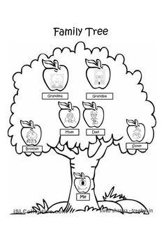 Página para colorir árvore genealógica vazia. As crianças