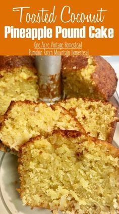Toasted Coconut Pineapple Pound Cake ⋆ One Acre Vintage & Pumpkin Patch Mtn. Pineapple Pound Cake, Coconut Pineapple Cake, Coconut Pound Cakes, Pound Cake Recipes, Easy Cake Recipes, Dessert Recipes, Desserts With Pineapple, Crushed Pineapple Cake, Coconut Desserts