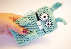 Samsung Galaxy S3 Mini cell phone case Bunny Wool Crochet Pouch Sleeve turquoise green Smartphone case