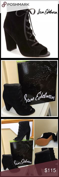 """❗️1-HOUR SALE❗️SAM EDELMAN SUEDE Peep Toe Booties * NEW WITH TAGS * RETAIL PRICE: $150  SAM EDELMAN SUEDE BOOTS Lace Up Heeled Ankle Booties   * Lace up front & side zipper closure  * Genuine suede construction  * Open peep toe & 4"""" high chunky column style heels  * Topstitched detail    * 6"""" high shaft  * True to size MATERIAL- Suede upper & synthetic sole COLOR- Black Item#S98900  🚫No Trades🚫 ✅ Offers Considered*✅ *Please use the blue 'offer' button to submit an offer. Sam Edelman Shoes…"""