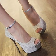 Women's High Heels Stilettos Platforms #Shoes Sandals #Opened Toe #Ankle Strap
