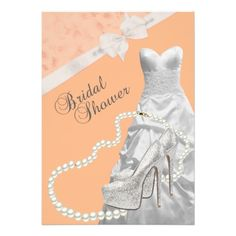 Wedding Gown Bridal Shower Coral Invitation  Elegant Wedding Gown Bridal Shower Invitation. Adorned with glitter high heel shoes and an elegant pearl necklace. #timelesstreasure