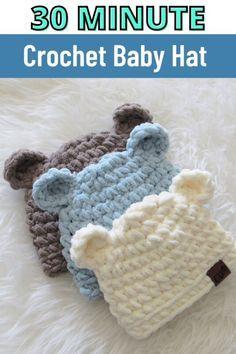 Crochet Beanie, Cute Crochet, Crochet For Kids, Crochet Crafts, Crotchet, Afghan Crochet, Beautiful Crochet, Crochet Stitches, Easy Crochet Baby Hat
