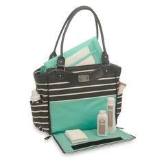 Carter's Zip Down Changing Pad Fashion Diaper Bag Black/White