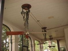 fans with belts-so nice out on the porch! Backus Belt Fans on Porch.JPG