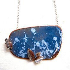 Spring Field, grasses, silver and slate blue enamel necklace by Cari-Jane Hakes, hybrid handmade