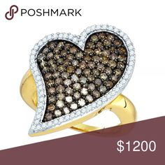 10k Gold Cognac-brown Colored Cluster Ring 1.50Ctw 10kt Yellow Gold Womens Round Cognac-brown Colored Diamond Heart Love Cluster Ring 1 & 1/2 Cttw  Product Specification Gold Purity & Color 10kt Yellow Gold Diamond Carat Weight 1 & 1/2 Ct.t.w.† Diamond Clarity / Color I2-I3 / Brown Width27 mm ( 1.06 inches ) Width of shank 2 mm Ring Size 7 Gram Weight 5.76 grams (approx.) Style Hearts & Love Item Number Larimaro-7343017TP Jewelry Rings