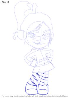 Learn How to Draw Vanellope von Schweetz from Wreck-It Ralph (Wreck-It Ralph) Step by Step : Drawing Tutorials Disney Drawing Challenge, Drawing Disney, Disney Drawings, Drawing Tutorials, Drawing Tips, Disney Character Drawings, Create This Book, Vanellope Von Schweetz, Pencil Sketch Drawing