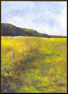 Fence Row ... Original painting on board 5x7 farm field landscape. $40.00, via Etsy.